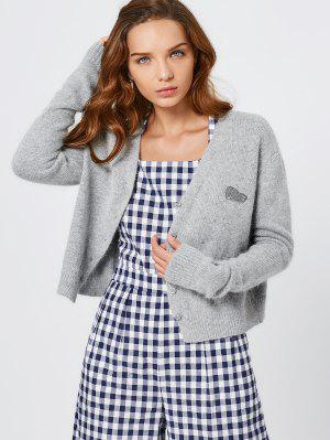 Knitted Button Up Cardigan - Gray S