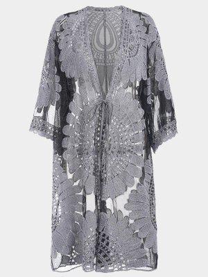 Plus Size Kimono Self Tie Cover Up Dress - Black 2xl