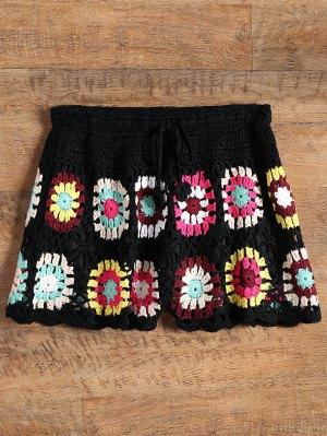 Overlay Flower Crochet Cover Up Shorts - Black - Black