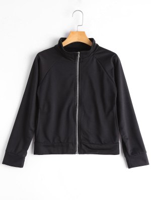 Patterned Zipper Up Jacket - Black Xl