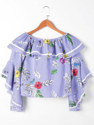 Striped Floral Flounce Crop Top - Blue And White 2xl