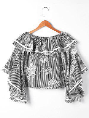 Striped And Floral Off The Shoulder Blouse - Black Stripe 2xl