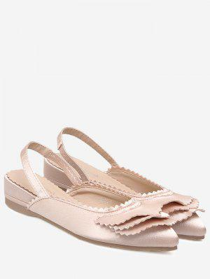 Toothed Edge Slingback Flat Shoes - Light Pink 37