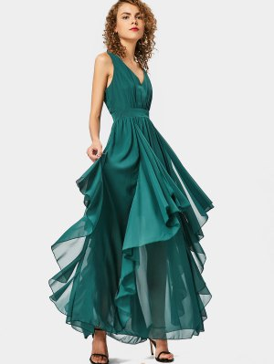 Plunging Neck Open Back Tiered Dress - Green L