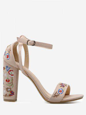 Embroidered Ankle Strap Block Heel Sandals - Apricot 38