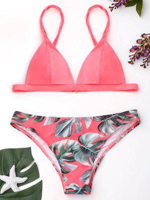 Cami Palm Leaf Print Bikini - Pink - Pink S