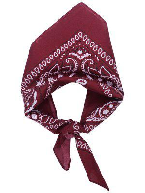 Paisley Print Square Scarf - Wine Red