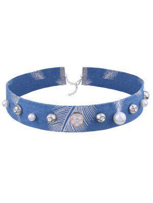 Rhinestone Leaf Flower Denim Choker Necklace - Denim Blue