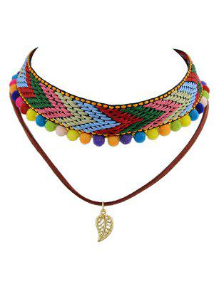 Colorful Pom Pom Weaving Choker