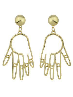 Metal Hand Ball Funny Earrings - Golden