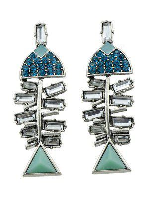 Rhinestone Fish Shape Stud Earrings - Silver