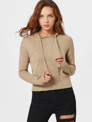Pullover Drawstring Hooded Knitwear - Khaki S