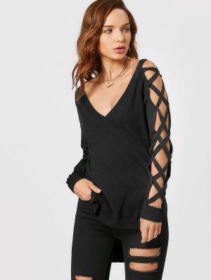 Criss Cross Sleeve High Low Knitwear - Black S
