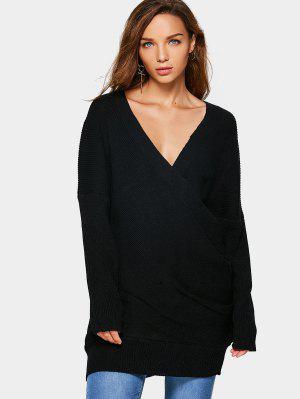 Drop Shoulder Crossed Front Sweater - Black