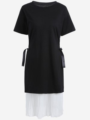 Plus Size Pleated Cami Dress With Outer Dress - White And Black - White And Black 5xl