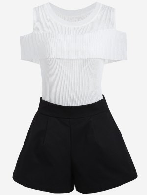 Cold Shoulder Knitwear And Plus Size Shorts - White And Black - White And Black 5xl