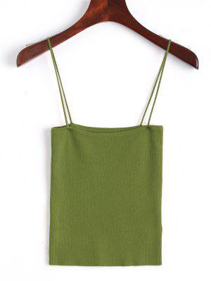 Knitting Cami Ribbed Tank Top - Army Green S