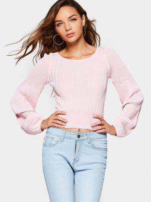 Fitting Lantern Sleeve Ribbed Sweater - Pink