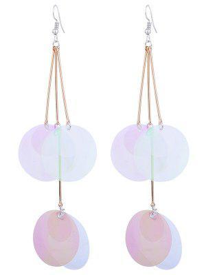 Gradient Color Round Piece Drop Earrings - Transparent