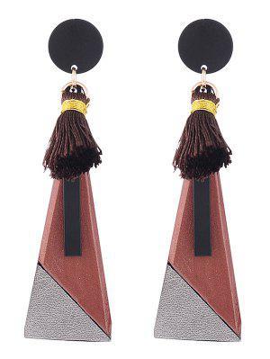 Tassels Triangle Pendant Drop Earrings - Spice