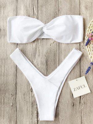 Twist Front Bandeau Thong Bikini - White - White Xl