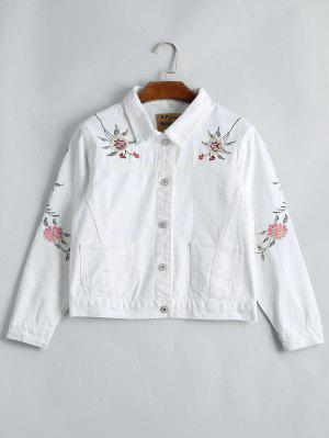 Button Up Floral Embroidery Denim Jacket - White Xl