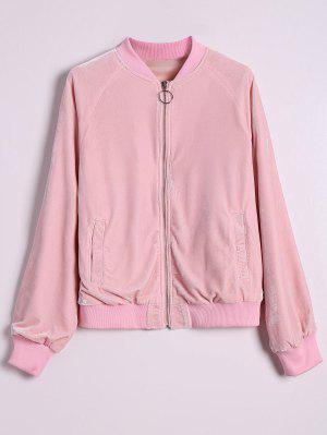 Velvet Zip Up Pilot Jacket - Pink L
