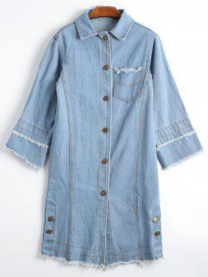 Button Up Frayed Hem Denim Coat - Charm Xl