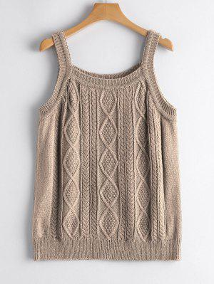 Square Collar Cable Knit Tank Top - Khaki