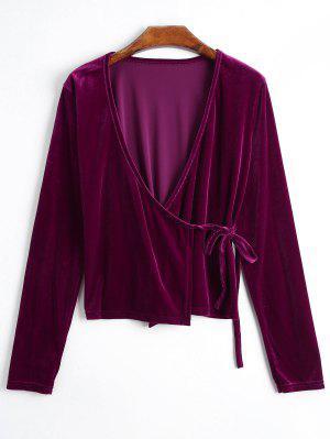 Plunging Neck Velvet Wrap Blouse - Violet Rose L