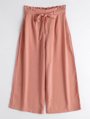 Drawstring Ninth Wide Leg Pants - Orangepink L