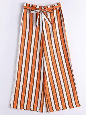 Stripes Belted High Waisted Wide Leg Pants - Stripe - Stripe S
