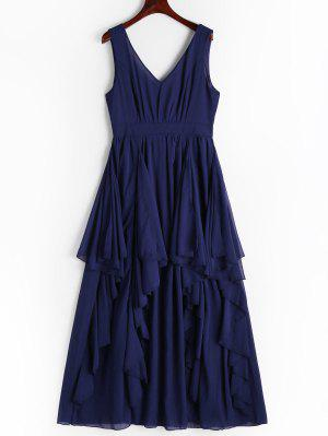 Plunging Neck Open Back Tiered Dress - Cerulean M