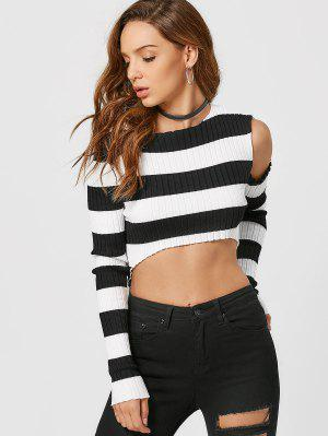 zaful Asymmetrical Cut Out Striped Knitwear