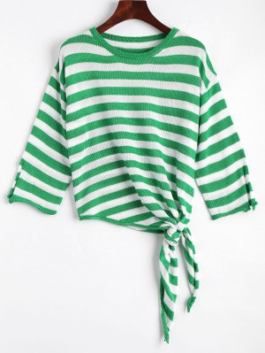 Open Sleeve Bow Tied Stripes Sweater - Green