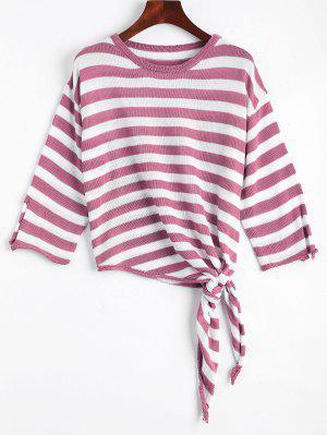 Open Sleeve Bow Tied Stripes Sweater - Purple