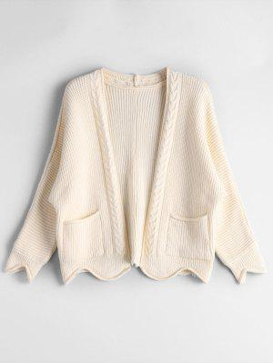 Open Front Plain Cardigan With Pockets - Beige
