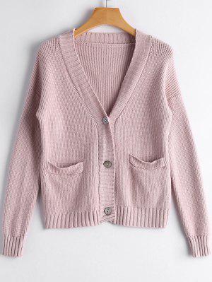 Drop Shoulder Button Up Pockets Cardigan - Pink