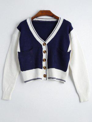 Button Up Contrast Pockets Cardigan - Deep Blue