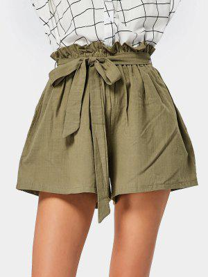 Smocked High Waist Belted Shorts - Army Green - Army Green