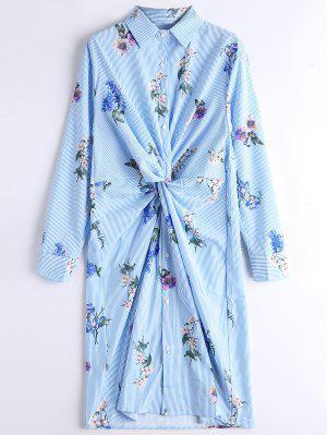 Long Sleeve Floral Stripes Twist Shirt Dress - Stripe L