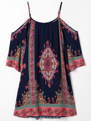 Cold Shoulder Paisley Beach Dress - Purplish Blue S