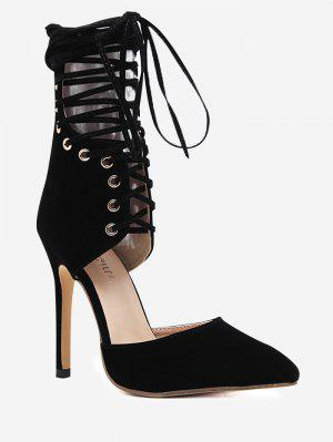 Stiletto Heel Zipper Lace Up Pumps