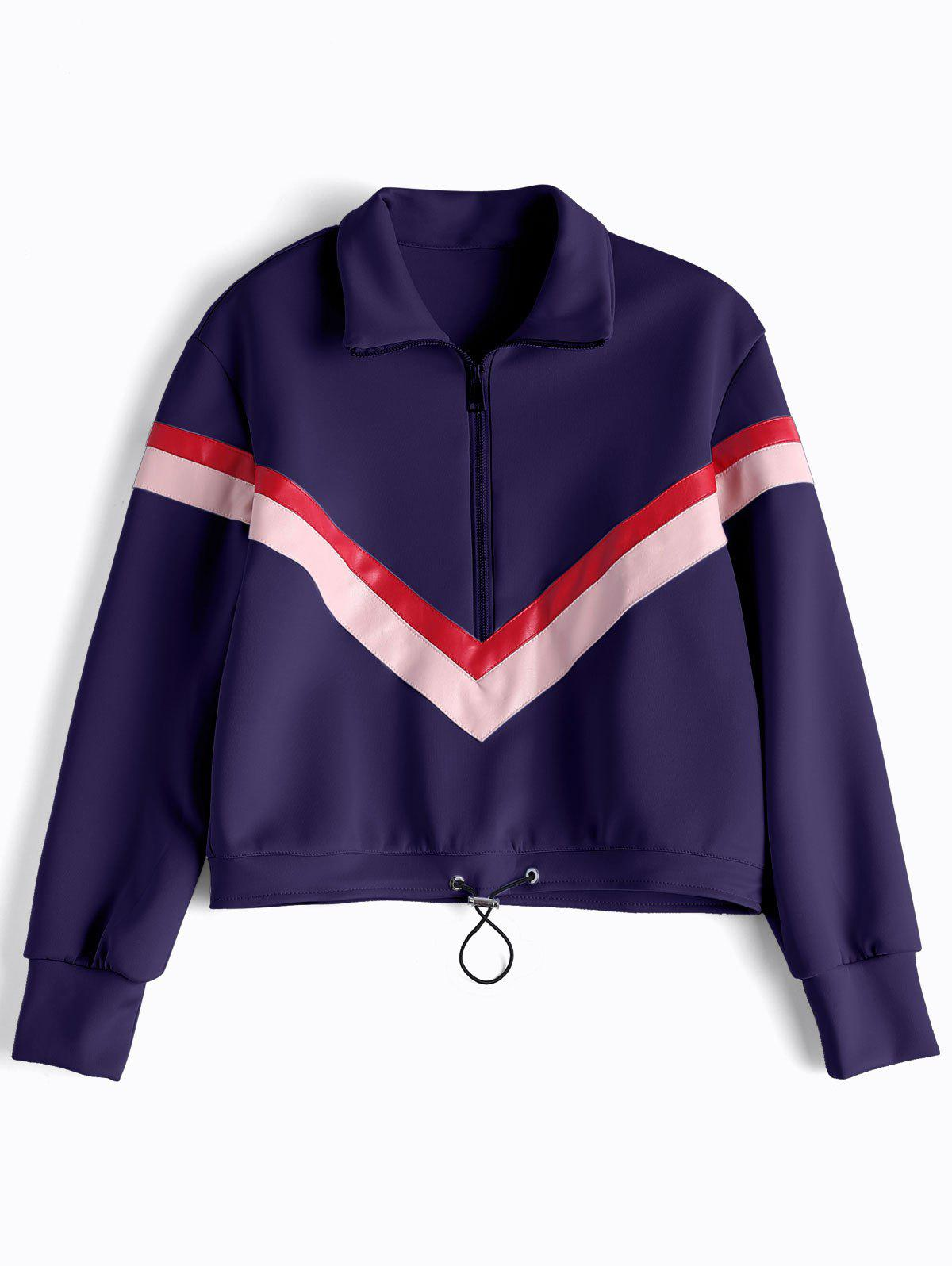 Image of Faux Leather Panel Half Zipper Sporty Top