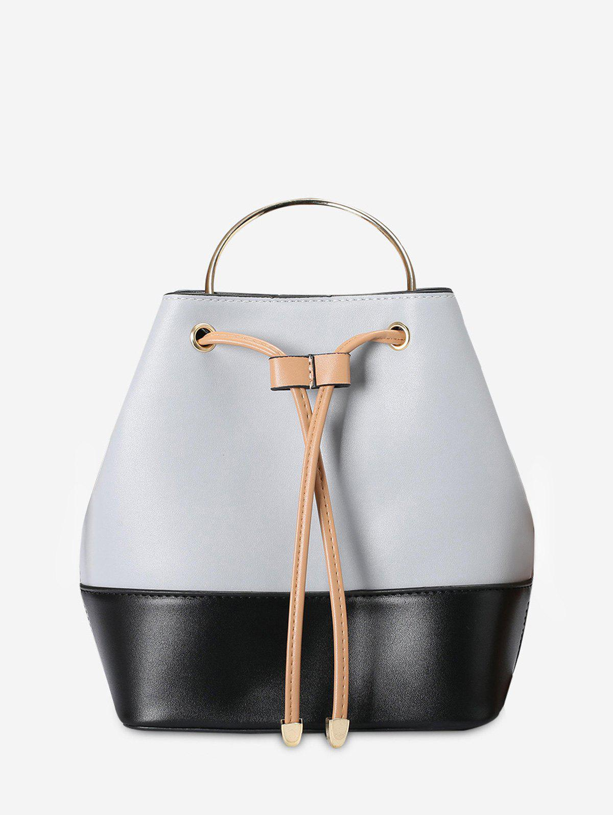 Metal Handle Colour Block Tote Bag 223194201