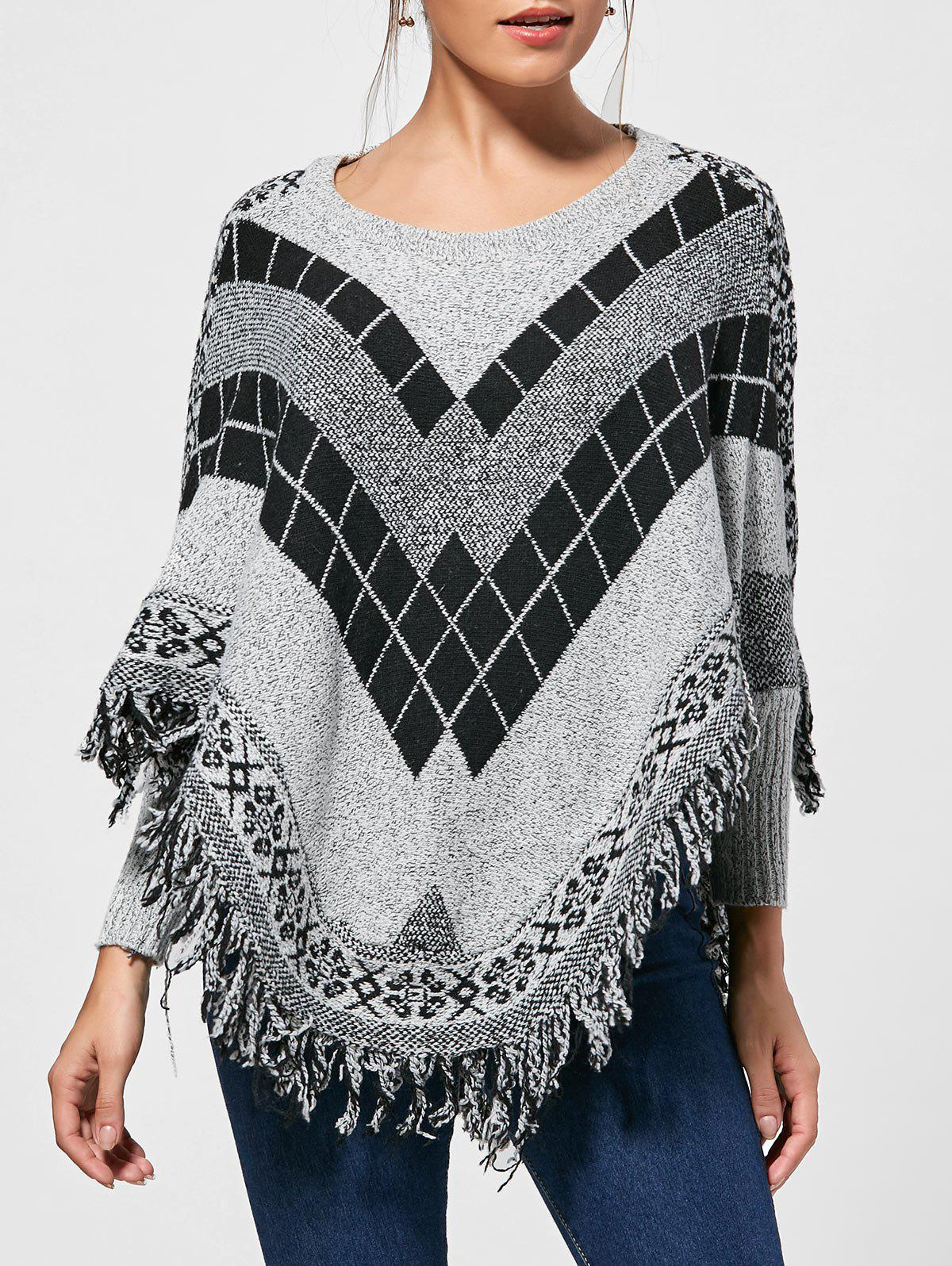 Asymmetric Batwing Graphic Poncho Fringed Sweater 223450001
