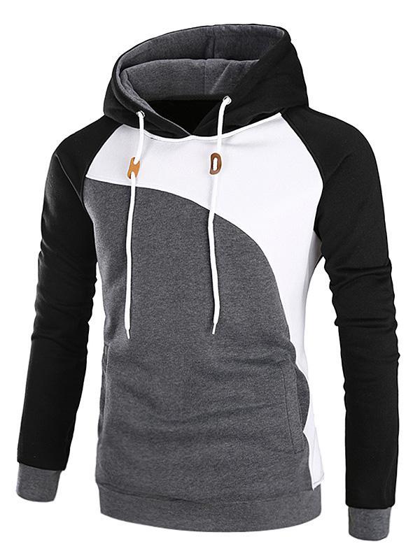 Color Block Raglan Sleeve Fleece Hoodie 224131015