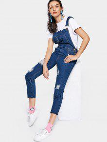 Ripped Denim Overalls With Pockets - Blue L