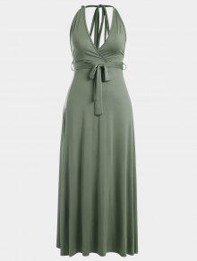 فستان ماكسي عارية الظهر رسن انقسام - الجيش الأخضر M