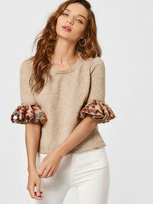 Sequined Flare Sleeve High Low Sweater - Khaki